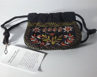 Black Batua / Ladies Pouch / Coin Purse; with Golden Brown Nakshi Kantha Embroidered