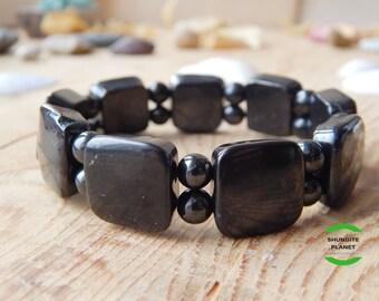 Shungite bracelet square beads with spherical beads , EMF protection bracelet, schungit, chakra balancing, health crystal