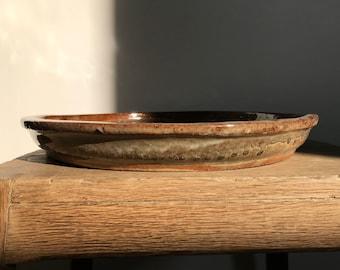 Flat Ceramic Bowl with Drip Glaze