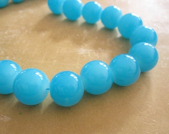 Lot 10 glass beads round 12mm sky blue color