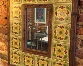Mid Century wood and ceramic wall mirror