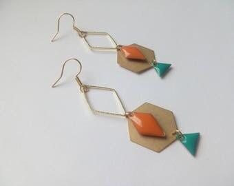 Earrings golden orange and blue