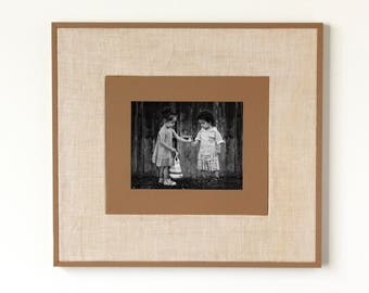 MED/LG Rustic Wooden Frame with Burlap (Tan) - rustic frames, rustic wooden frames, modern rustic frame, reclaimed wood frame
