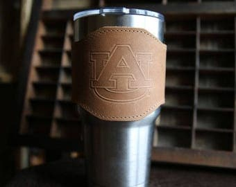 The Officially Licensed Auburn Apollo Leather Drink Cooler Sleeve – for 30oz Yeti Rambler Tumbler