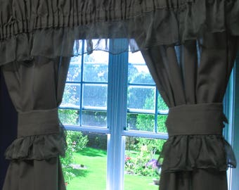 blue living room curtains. One peice curtain  kitchen living room coton chiffon Living curtains Etsy