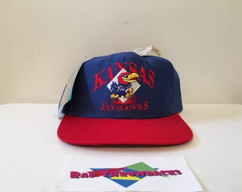New Dead Stock Vintage 1990s University of Kansas Jayhawks Signatures Blue/Red Snapback Hat with Original Tags