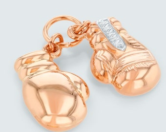 High Polished 14K Rose Gold Two-Tone 3D Boxing Gloves Charm Pink Gold Sports Pendant