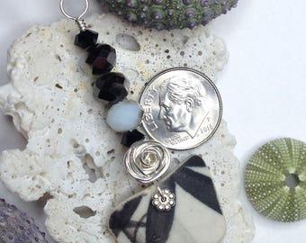 Sea Pottery + Pearl Pendant, Sea Pottery, Pearl Pendant, Sea Pottery Jewelry, Sea Pottery Pendant