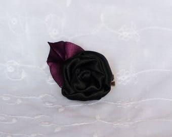 Burgundy Red Leaf and black flower hair clip