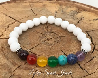 Chakra bracelet, mala bracelet, yoga bracelet, 7 chakra bracelet, spiritual bracelet, healing bracelet, gift, white bracelet, gemstones