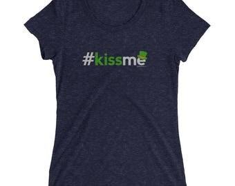 St Patricks Day Shirt Women V Neck Kiss Me | Irish St Paddys Day Shirt St Patricks Day Tee