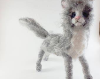 Needle Felted Gray Kitten