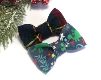 Dinosaurs/Hair Bows/Hair Accessories/Christmas Hair Bows/Hair Clips/Plaid/Baby Girl/Fabric Hair Bows/Holiday Bows/Floral Dinosaur Clip Set