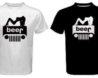 Beer Jeep T Shirt Etsy - Jeep logo t shirt