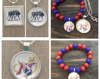Sailor moon jewelry set.Sailor moon pendant necklace.Sailor moon bead bracelet.Sailor moon squad goals pendant necklaces
