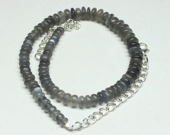 "Natural Gray Moonstone Round Beads Strand Necklace. 10"" Inches Strand, Size- 5 to 8 MM Approx Code-HN17"