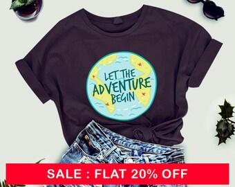Let the adventure begin tshirt, adventure TShirts - Road Trip Shirt, Wanderlust, Wanderlust shirt, Camping , ladies tshirt, women shirt