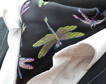 Cravat Ascot. UK Made. Black Green Purple Gold Iridescent Dragonfly Cravat+Hanky