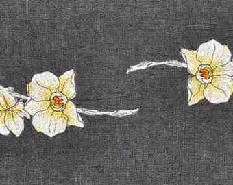 Beautiful polylin table runner. Two beautiful orchids to brighten your table.