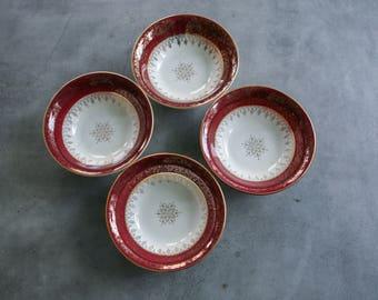 "Vintage British Empire Ware ""Treasure O' Gold"" Bowls, 22 k Gold Trim, Set of 4"