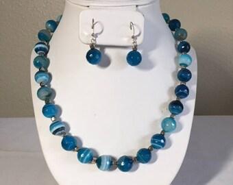 Blue Agate Necklace Earrings Set For Women