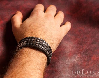 Leather Bracelet ,100% cow leather, stainless rivets , deluxe leather bracelet , for her , valentines day , top quality , unisex