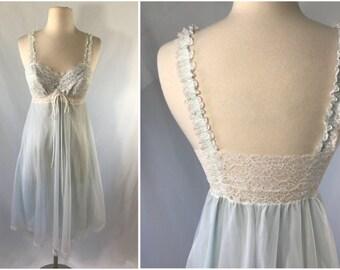 Off White Light Blue Sheer Lace Nightgown | Bridal Peignoir | Honeymoon Lingerie | Bridal Lingerie | Gift for Bride