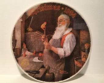 "1984 ""Santa in his work shop"" Christmas Bradford Exchange Bradex Collector Plate"