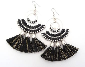 Black BALI hoop Earrings with 3 PomPoms (GM)