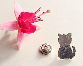 Sterling Silver Cat pin/ tie tack/ lapel pin/ brooch