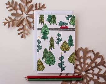 "Christmas Card, ""Christmas Forest,"" 5"" by 7"" inches"