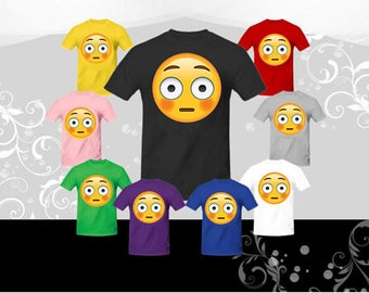 Flushed Face Emoji T-shirt (U+1F633), Emoji Costume, emoji shirts