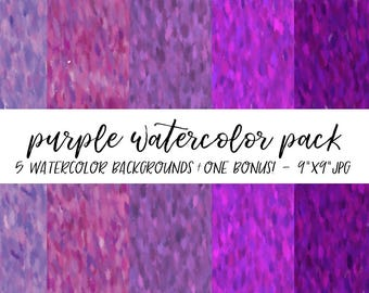 Watercolor Backgrounds Pack, Textures Bundle, Watercolor Digital Paper, Purple Watercolor Background, Watercolor Background