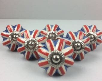 Lovely Set 6 x Union Jack Ceramic knobs - Knob Home decor drawer pull