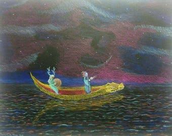 Canoe-Crocodile spirit. Original drawing