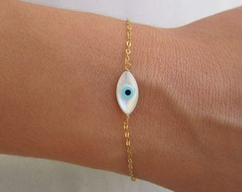 Evil Eye Bracelet, Evil Eye Charm, 14K Gold Bracelet, Best Friend Bracelet, Evil Eye Jewelry, Birthday Gift, Delicate Thin Gold Bracelet