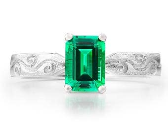 The London Ring - Lab Grown Emerald 14K White Gold