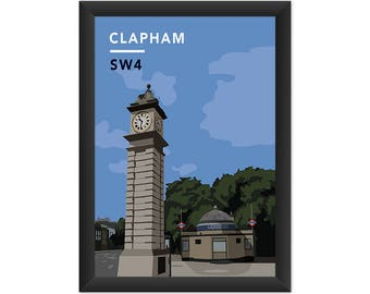 Clapham Clock Tower And Underground Station SW4 - Giclée Art Print - South London Poster