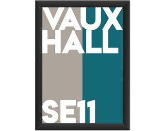 Vauxhall Typography SE11 - Giclée Art Print - South London Poster