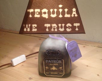 Lamp bottle Patron XO Tequila coffee is handmade (recycled / Upcycled)