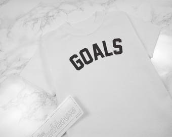 White Goals Baby Clothes, Baby Girl clothes, Baby Boy Clothes, First Birthday, Toddler T-shirts tees shirt Trendy Modern Outfit The Cubhouse
