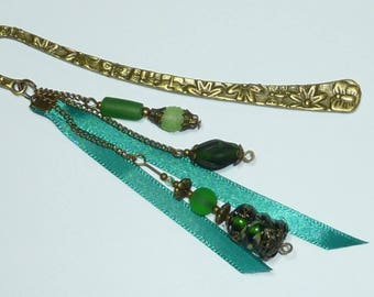 "Large bookmark bronze jewel beads ""green Murano"""