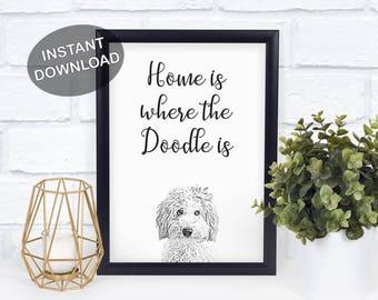 Goldendoodle Print - Labradoodle Decor - Doodle Dog Art - Labradoodle Illustration - Stylish Dog Decor - Gift From The Dog - Golden Doodle