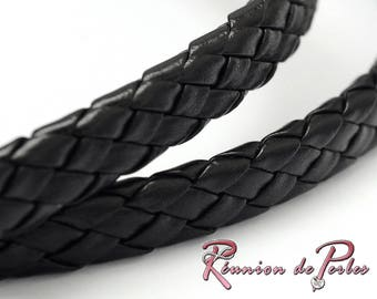 1 meter black flat braided leather cord