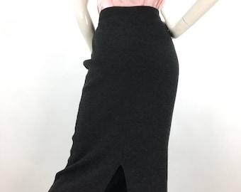 1990s grey midi, 90s warm vintage skirt
