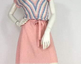 1960s 70s knit dress/vintage knit midi dress