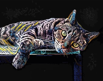Custom Cat Portrait -  Bespoke Cat Painting - Ready to Hang - Perfect gift for cat lovers!