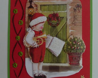 hand embroidered card - 3D design small child musician - Merry Christmas - happy new year-