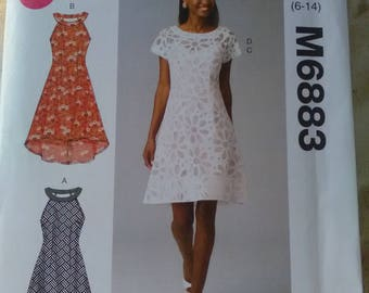 McCall's 6883. Dress sewing pattern. New 4 variations. Sizes 6-14