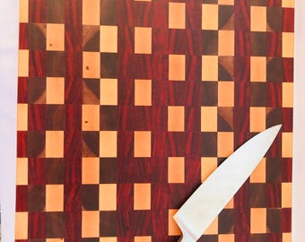 Eye Popping eXtra Large Thick End Grain custom handcrafted Exotic Paduak, Maple, Walnut Cutting Board chopping block